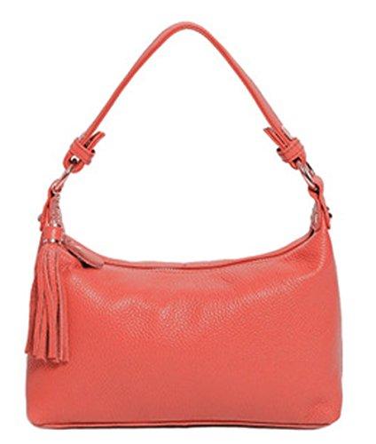 Keshi Leder neuer Stil Damen Handtaschen, Hobo-Bags, Schultertaschen, Beutel, Beuteltaschen, Trend-Bags, Velours, Veloursleder, Wildleder, Tasche Wassermelone Rot