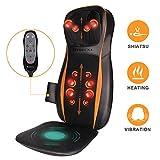 Massagesitzauflage Rückenmassagegerät mit Wärmefunktion, Shiatsu Vibrationmassage, 12 Kneten Massagekugeln, 3 Massagezonen, einstellbare Nackenhöhe für Nacken Rücken Gesäß Entspannung