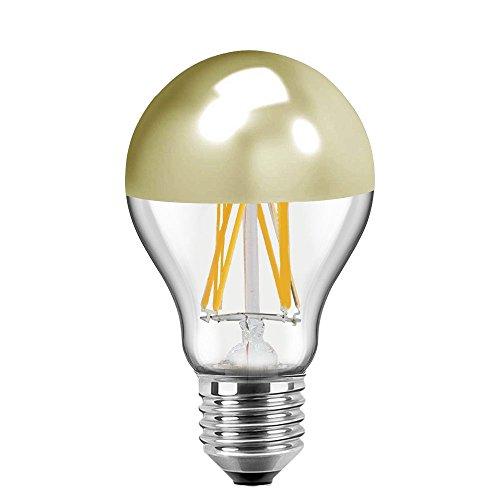 Blulaxa LED Filament Vintage Kopfspiegellampe Birnenform, 7W, 180°, E27, warmweiß, Glas, klar mit goldenem Spiegelkopf EEK: A+