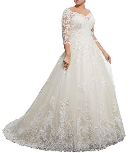 Nanger Damen Spitze Hochzeitskleider Große Größe A linie Brautkleider mit Lange Ärmel Elfenbein...
