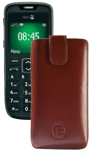 Original Favory Etui Tasche für / Doro PhoneEasy 508 / Leder Etui Handytasche Ledertasche Schutzhülle Case Hülle Lasche mit Rückzugfunktion* in Braun