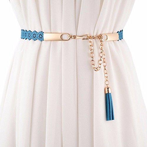 QIER-YD Frauen Taille Kette Mode Quaste Dekoration mit Kleid süßen Gürtel Blau -