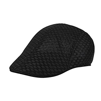 20c869dadc150 UJUNAOR Men Breathable Mesh Newsboy Hats Casual Beret Caps(Black ...