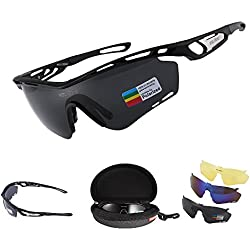 Gafas de Sol Polarizadas LESHP UV Ciclismo deportivas Manera Reflexiva de deportes al aire libre para Bicicleta Actividades con 3 lentes de ciclismo gafas sol