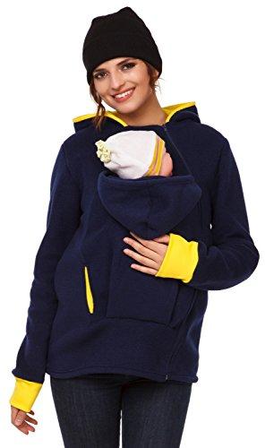 Happy Mama. Women's Maternity Fleece Hoodie Duo Top Carrier Baby Holder. 032p (Navy, UK 14/16, XL)