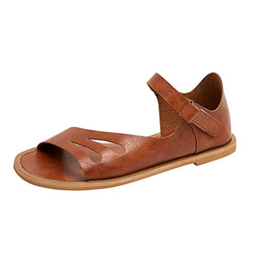 MakefortuneDamen Damen Mädchen Flache Sommer Strand Retro Sandalen Flip Flops Knöchelriemen Römische Schuhe mit Klett Design EU 35-43 UK 4-9 (Jordan Retro 4 Große Kinder)