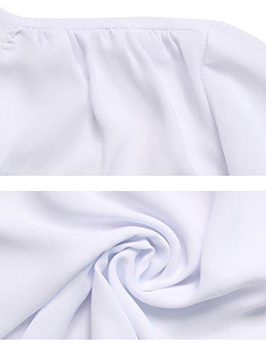 Abollria Damen Chiffon Cardigan Elegant Blazer Leicht Dünn Längere Bolero Weiß