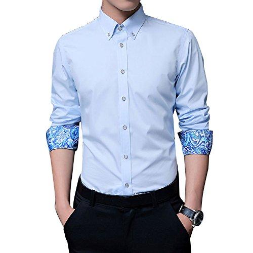Uomo camicie maniche lunghe / slim fit camicia moda / camicia classiche taglia m/l/xl/xxl/3xl azzurro