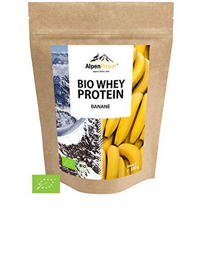 ALPENPOWER | BIO WHEY Protein Banane | Ohne Zusatzstoffe | 100% natürliche Zutaten | 7 Sorten | Bio-Milch aus Bayern und Österreich | Superfood Banane | Hochwertiges Eiweiß | Low Carb | 500 g -