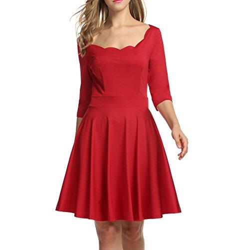 Trudge Damen Weihnachtsbäume Weihnachtsmann Elch Skaterkleid Basic Kleid Swing Festlich Kleid...