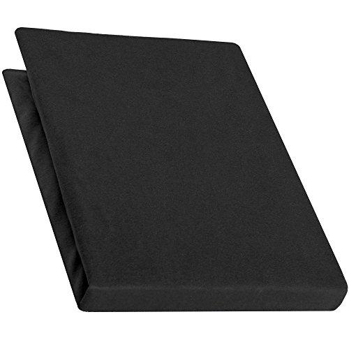 aqua-textil Pur Jersey Spannbettlaken 180x200 - 200x220 cm schwarz Wasserbetten Boxspringbetten Mako Baumwolle