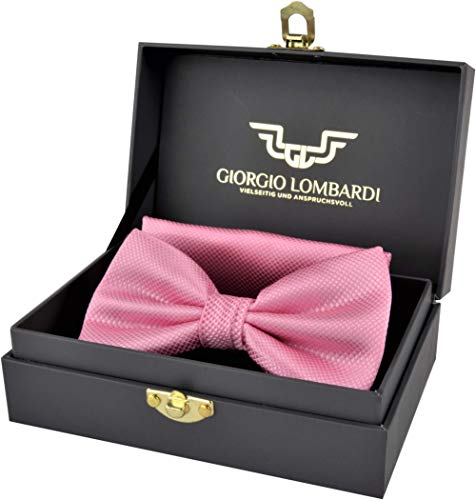 Giorgio Lombardi Herren Fliege Luxus bow tie mit passendem Einstecktuch - Fertig gebunden und verstellbar - Fliegen Set in edler Geschenkbox - Design-krawatte Tie