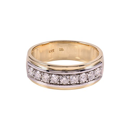Diamond studs forever - anello da uomo - oro bianco e cioccolato 14k con diamanti 1/2 ct totali gh/i1