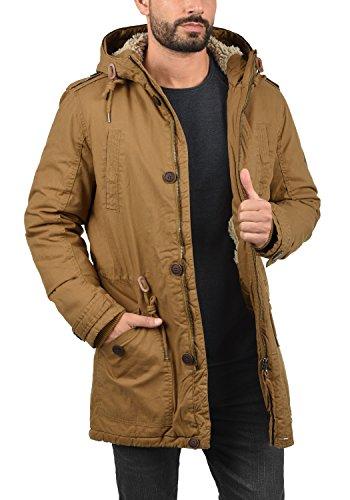 SOLID Clarki Teddy Herren Parka lange Winterjacke Mantel mit Fell-Kapuze und Teddy-Futter aus 100% Baumwolle Cinnamon (5056)
