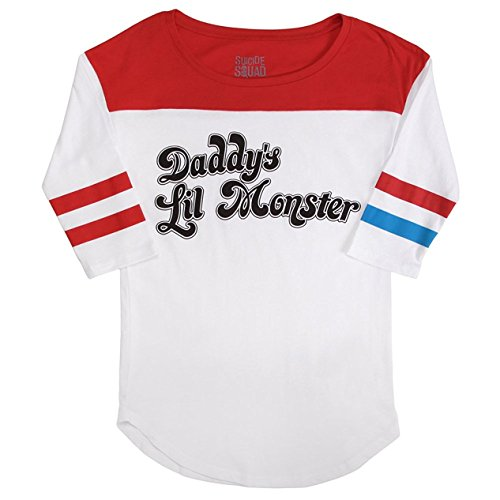 offiziell-dc-comics-selbstmord-gruppe-harley-quinn-daddys-lil-monster-frau-baseball-t-shirt-weiss-kl