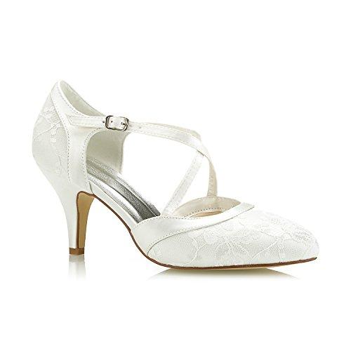 Mrs White 98977-16 Damen Brautschuhe,Damen Pumps Hoher Cone Heel Spitze Satin Hochzeitsschuhe Prom...