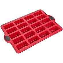 Levivo Stampo per Financier/Brownie in Silicone, per 20 Tortine, 30 X 22 cm, Rosso