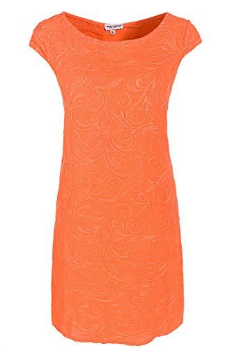 PEKIVESSA Damen Leinenkleid Häkel-Stickerei Sommerkleid Orange 44 (Herstellergröße XXL) - Orange Kleid Sommerkleid