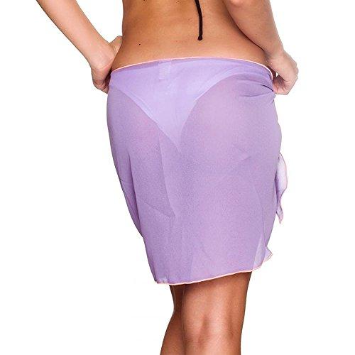 iBaste 2018 neue Damen Sexy modern Einfarbig Strandrock Strandkleider bikinihosen Cover Up Violett