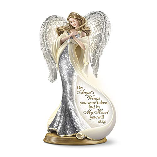 The Bradford Exchange 'Forever In My Heart' Mosaic Angel Figurine – A Luminously Beautiful Heirloom Porcelain® Angel Figurine With Illumination, Glass Mosaic, And 22-Carat Gold-Plating.