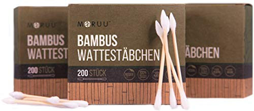 Fusselfreie Bambus Wattestäbchen / Ohrenstäbchen ohne Plastik – Für umweltbewusste Kosmetik Liebhaber | 200 oder 600 Stück | Baby/Kinder geeignet | vegan | zero waste | plastikfrei | q-tips