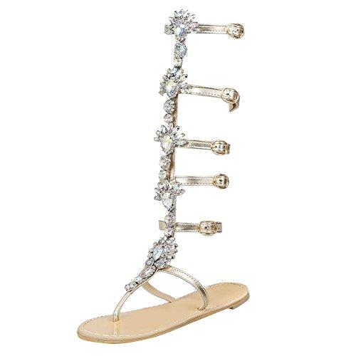 YE Damen Shoes Zehentrenner Gladiator Römersandalen Flache Sandaletten mit  Glitzer Strass Summer. 37c24063e1