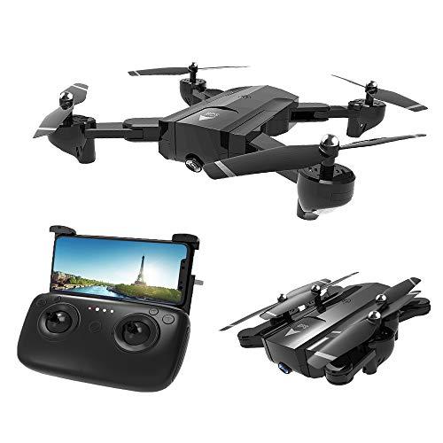 Haha GPS Telecamera Drone Dual con Grandangolare-Regolabile Camera HD WiFi Quadricottero Funzione Seguimi, Altitudine Attesa, Controllo di più Lunga Distanza