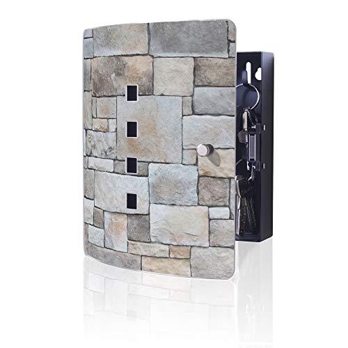 banjado Ausgefallener Schlüsselkasten Quad aus Edelstahl von Burg-Wächter | Origineller Design Schlüsselschrank aus Metall | Schlüsselbox magnetisch Motiv Natursteinmauer -