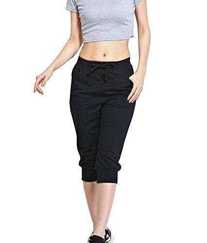 Pantalons De Sport Pour Femmes 3/4 Décontracté Capri Pantalons De Fitness Aérobic Exercices Jogging Pantacourt Grande Taille Noir