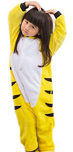 Ghope Kinder Kigurumi Strampelanzug Pyjamas Tier Cosplay Kostüme Cartoon Jumpsuit Nachtwäsche Tiger für Höhe - Strampelanzug Halloween-kostüm Tiger