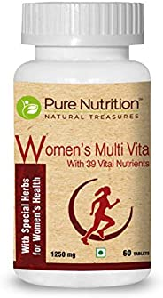 Pure Nutrition Women's Multi Vita, Fortified with 39 Bioactive Vital Nutrients with Ginseng Extracts, Omega 3