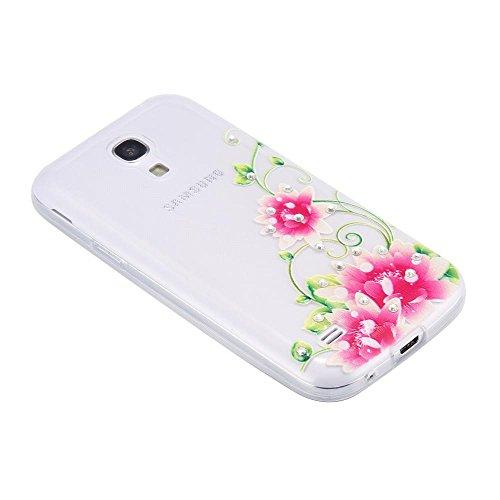ECENCE Samsung Galaxy S4 mini i9190 Silikon TPU case schutz hülle handy tasche cover schale retro rot weiss gepunktet 12040404 Lotusblüte