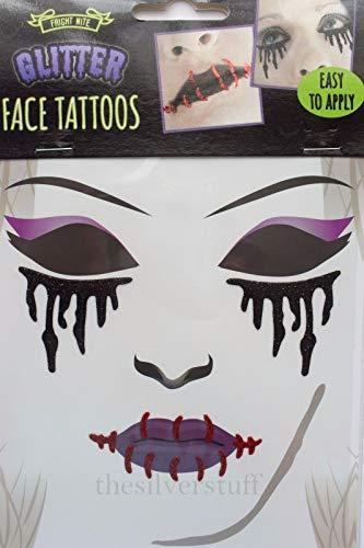Mumie Kostüm Gothic - Black Bloody Drips Glitzer Gesicht Tattoo für Vampir Zombie Kostüm Party