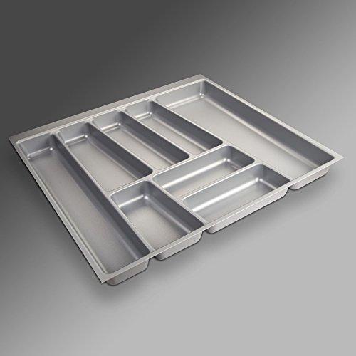 Preisvergleich Produktbild ORGA-Box II Besteckeinsatz für Nobilia 60er Schublade (462 x 505 mm Bitte MESSEN Sie Ihr SCHUBLADENINNENMAß!) Silbergrau