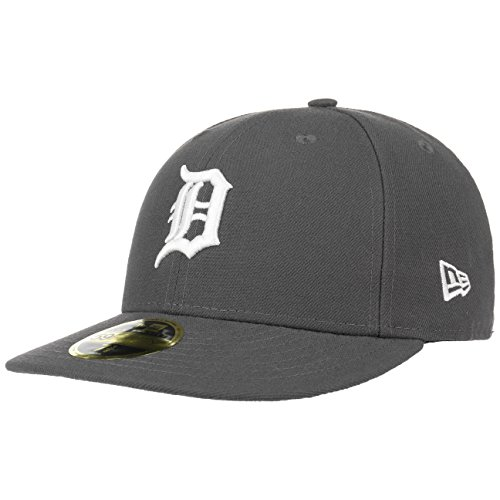 Brim Fitted Cap (New Era 59Fifty LoPro Tigers Cap Semi-Curved Brim Fitted Basecap Detroit MLB Baseballcap Cap Basecap (7 3/4 (61,5 cm) - dunkelgrau))