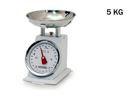 Bilancia Bianca da cucina 5 KG meccanica analogica con stile retro' in metallo con piatto in acciaio