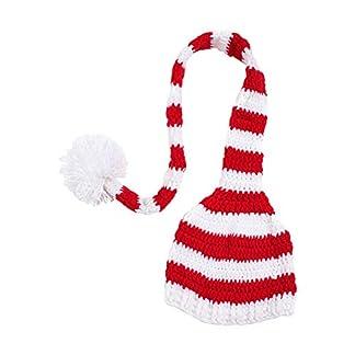Wicemoon Rojo Sombrero de Bebé Recién Nacido, Cola Larga, Gorro A Rayas, Gorro para Accesorios de Fotos 37cm -39cm