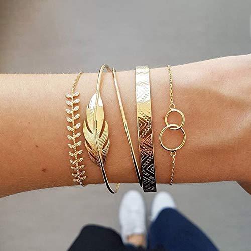 YDXJJ Armband Legierung Mehrschichten Gold Silber Perlen Pailletten Set Armband Für Frauen Schmuck Fußkette Fußkettchen Zubehör Geschenk
