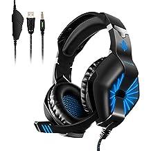 ELEGIANT Auriculares Gaming, Cascos PC PS4 con Micrófono Cable y Led Luz de Cancelación de Ruido Sonido Envolvente para Ordenador Xbox Música
