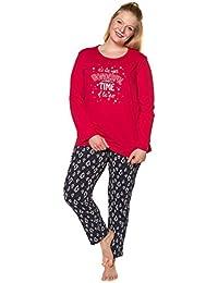 10b2ef86fd Ulla Popken Damen große Größen bis 66+   Schlafanzug   Zweiteiler, Reine  Baumwolle   Langarm, Rundhals, Elastikbund   schwarz, rot,…