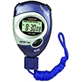 Generic Water Resistant 4 in 1 Professional Digital Stopwatch Timer with Extra Large Display and Buttons (6128, Blue)