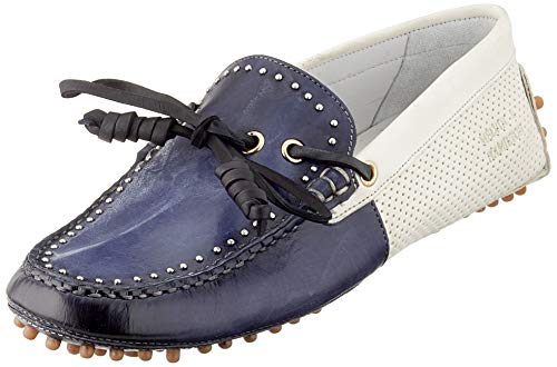 sports shoes c2466 fedc1 Melvin & Hamilton Caroline 8, Mocasines para Mujer, Marine Washed Vegas  Perfo Rivets-Nickle-RS-Honey-Lining-Sheen White, 37 EU