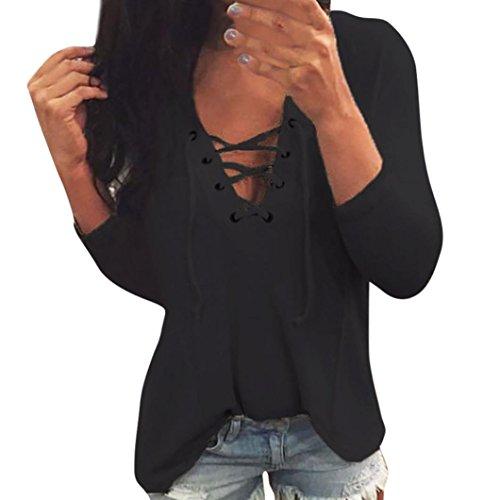 Damen Tops,TWBB Frauen Einfarbig Bandage Oberteile Lange Ärmel Shirts V-Ausschnitt T-Shirt Freizeit