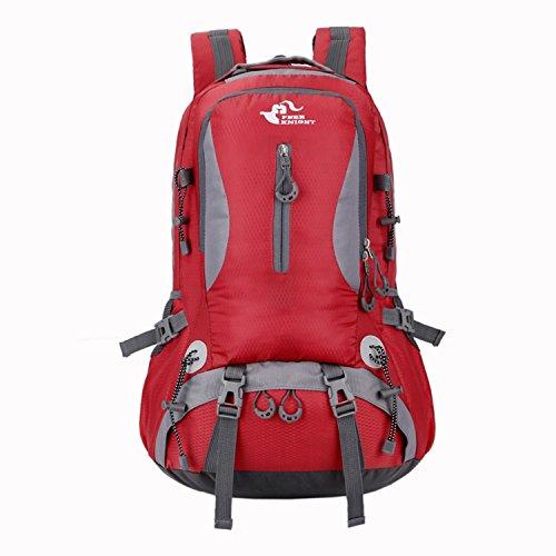 HWJDK Wandern Rucksack Camping Bergsteigen Klettern Rucksack Taktische Trekking Rucksack Tasche Red