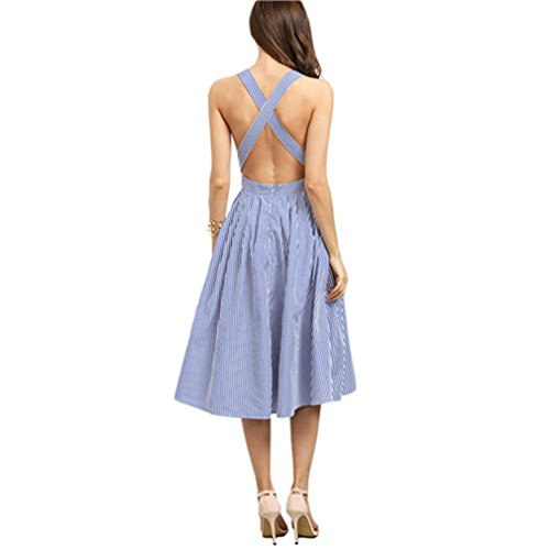 Frauen Ankunft Sexy Kleider Sommer Blau Striped Square Neck Sleeveless Kreuzmuster Zurück A Line Dress Blue-S (Square Neck Stickerei)