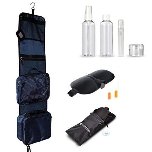 Kulturbeutel Kulturtasche für Männer und Frauen zum Aufhängen – Reise-Kosmetiktasche groß – Waschtasche mit GRATIS Flüssigkeitsbehälter und Schlafbrille – VAN BEEKEN Toilettentasche, Waschbeutel