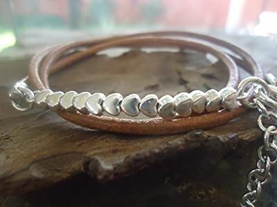 ? HEARTS MINUSCULES ? wrap Bracelet en cuir (700)