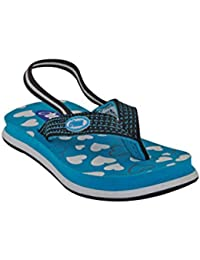 Beanz Little Hearts White/Teel/Black EVA Flip Flops For Girls Size 23 EU
