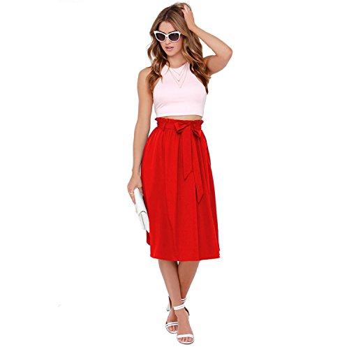 Minasan Mädchen Anständig Red Sommerrock Rockabilly Rock Elegant Freizeit A-Linien Knielang Damen Hochzeit Rock Kleid L