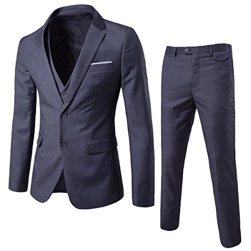 Herren 3-Teilig Anzug Slim Fit Zwei Knöpfe Anzughose Anzugweste von Allthemen Grau Small